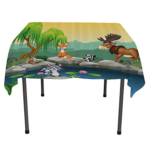 Cartoon Decor, Table ClothsFunny Mascots Animals by The Lake Moose Fox Squirrel Raccoon Kids Nursery Theme, for Outdoor and Indoor Use, 60x60 Inch Multi