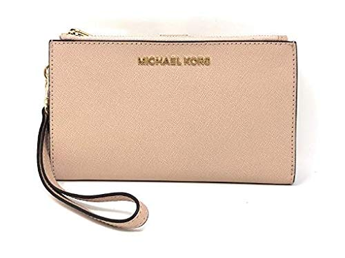 Michael Kors Jet Set Travel Double Zip Saffiano Leather Wristlet Wallet in Ballet
