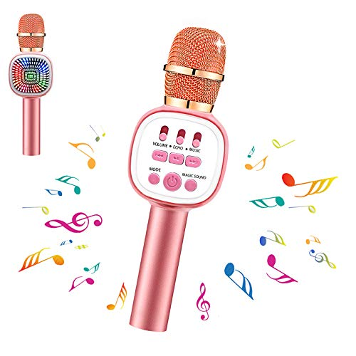 Karaoke Microphone for Kids Wireless Bluetooth Microphone with LED Lights & Voice Changer Portable Music Speaker Singing…