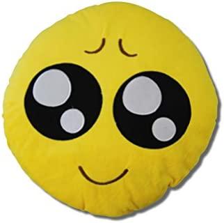 Katara 1788 Cojín Redondo Emoji Almohadilla Emoticono Whatsapp, Almohada Smiley De Peluche, Para Sofá - Ojos Grandes