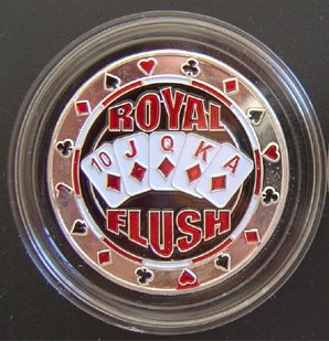 (MRC Poker Hand Painted Poker Card Guard Protector - Royal Flush Silver)
