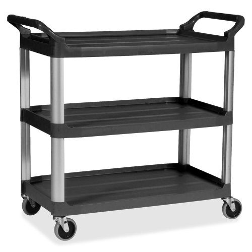 (Rubbermaid 3-Shelf Mobile Utility Cart - 3 Shelf - 300 lb Capacity - 4
