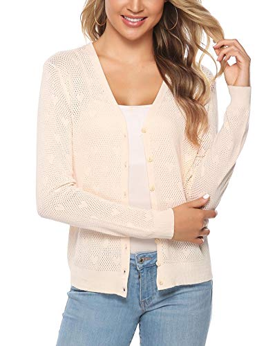 Button Down Long Sleeve Sweater - iClosam Women Knitted Bolero Shrug Long Sleeve Crochet Button Down Cardigan Sweater (#4Beige, Large)