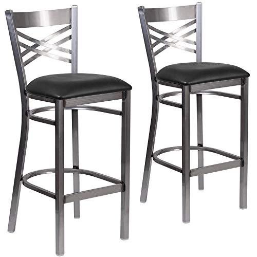 Flash Furniture 2 Pk. HERCULES Series Clear Coated ''X'' Back Metal Restaurant Barstool - Black Vinyl Seat