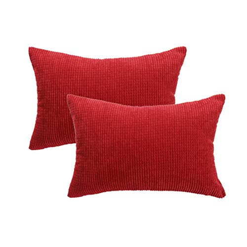PICCOCASA Pack of 2 Decorative Pillowcase Covers with Zipper Fall Super Soft Corduroy Striped Throw Pillow Case Cushion Cover Sets for Sofa Couch Bed, Red 12