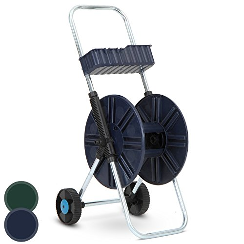 Jago-Gartenschlauchwagen-Schlauchaufroller-Schlauchhalter-Schlauchtrommel-in-Braun-oder-Grn
