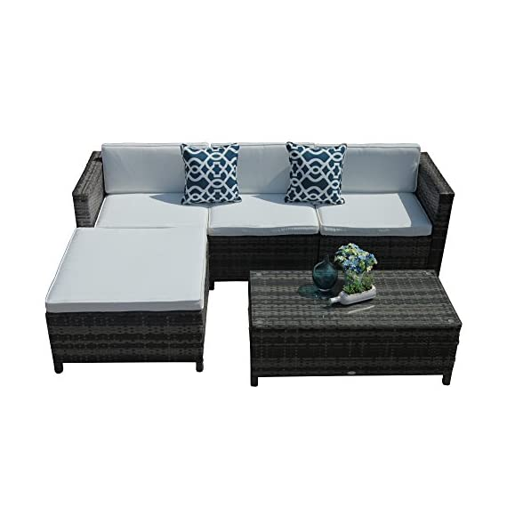 Patiorama 5pc Outdoor Furniture - 【Sturdy & Attractive】Constructed from strong powder coated steel frame and commercial grade hand woven weather-resistant PE rattan wicker in a gradient shades of gray creating a whole new look and feel for your patio (PLEASENOTETHEDIMENSIONSHOWEDINTHESECONDPICTURE) 【Upgraded Comfort】Comes with 3-inch thick lofty sponge padded seat cushions and back cushions for more comfort and relaxation, 2 blue square throw pillows are also included (Cushions and pillows are NON WATER-RESISTANT) 【Easy to Clean】All cushions and pillows come with zippered 200g polyester covers which are removable for easy cleaning; Removable tempered glass on the table adds more convenience to clean after use and a sophisticated touch as well - patio-furniture, patio, conversation-sets - 41ozIr8 XHL. SS570  -