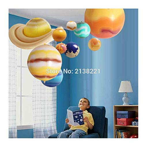 Luxury & Trendy 10 Pieces/Set Solar Galaxy Teaching Model Balloons Charm Simulation Nine Planets in Solar System Children Blow Up Inflatable ()