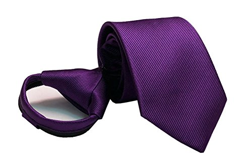 Mens Big Boys Dark Purple Silk Clip on Zip Ties Elegant Formal Wedding Neckties