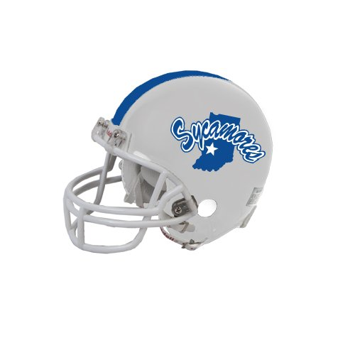 Indiana State Riddell Replica White Mini Helmet 'Sycamores Offical Logo' (Replica State Mini Riddell)