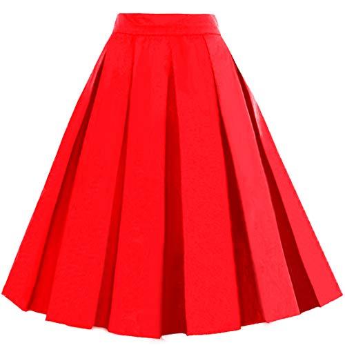 Women's Vintage A-line Printed Pleated Flared Midi Skirt Red Medium
