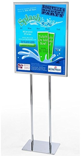 (Displays2go Free-Standing Metal Poster Frame for 22 x 28 Posters, Chrome Finish, Top Loading Sign Stand with Two-Legged Post (EMPS2228CL))