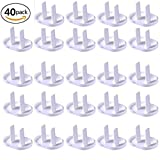 40 Count Premium Quality Childproof Outlet Covers – Value Pack – New & Improved Plastic Baby Proofing Caps – Durable & Steady – Pack of 40 Plugs