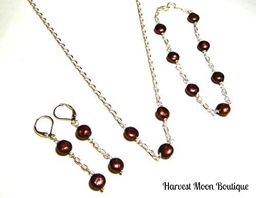 (Black Cherry Red Cultured Freshwater Pearl Jewelry Set Bracelet Earrings & Necklace by Artisan Angie Pinkal Classic Design)