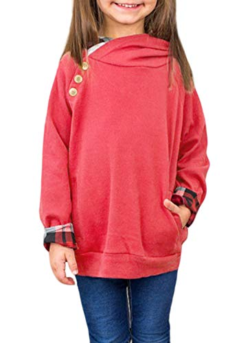 - Blibea Girls Kids Tops Long Sleeve Button Double Hooded Sweatshirt Pullover Size 6-7 Red