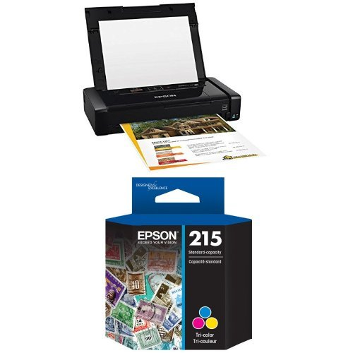 Epson WorkForce WF-100 Wireless Mobile Printer and T215 Standard-capacity Tri-Color Ink Cartridge Bundle