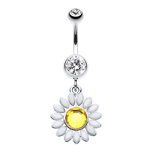 - WildKlass Jewelry Daisy Marquise Flower 316L Surgical Steel Belly Button Ring