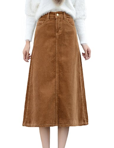 ZANLICE Women's A-Line Cotton Corduroy Midi Skirts with Pockets Medium Khaki