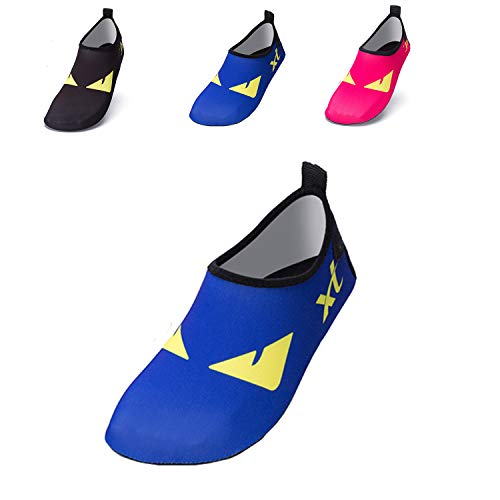 JACKSHIBO Kids Water Shoes, Lightweight Skin Swim Shoes Quick Dry Barefoot Aqua Socks Shoes for Beach Surf Yoga Exercise ()