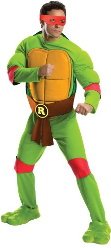 Rubie's Costume Men's Teenage Mutant Ninja Turtles Deluxe Adult Muscle Chest Raphael, Green, (Teenage Mutant Ninja Turtle Raphael Adult Mask)