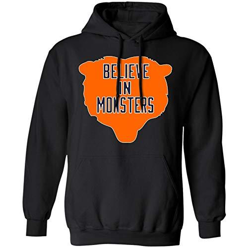 Believe in Monsters Chicago Bears Football Retro T Shirt Hoodie Long Sleeve for Men Women (Hoodie;Black;3XL) ()
