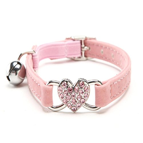 Pet Collar, Personalized Dog Collar Cute Crystal Elastic Collar Velvet Bell Heart Shape Pet Necklace (A, Pink)