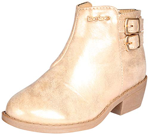 bebe Girls Distressed Metallic Ankle Boot, Rose Gold,