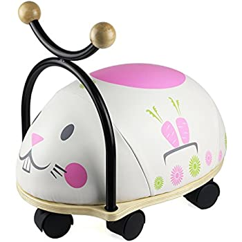 RideOnToy,WoodenAnimalSeat Toy, Outdoors Activity RidingToysforBirthday, HolidayPresent, GreatGift for2,3,4 YearOldandUpKids Toddler (Rabbit)-iPlay,iLearn