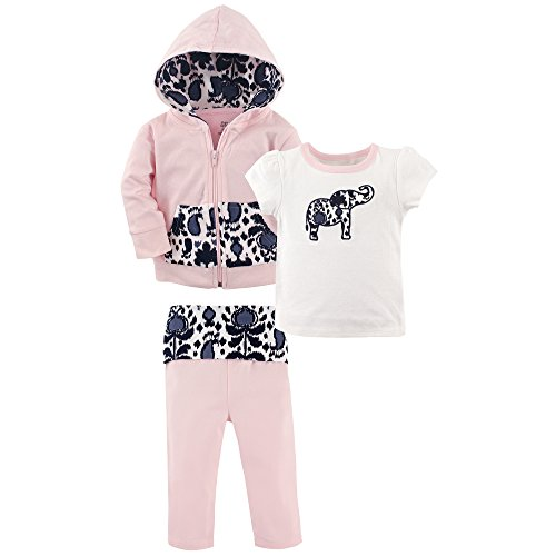Yoga Sprout Baby 3 Piece Jacket, Top and Pant Set, Ikat Elephant Toddler, 2