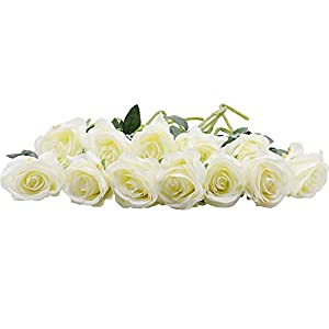 RETON 12 Stems Artificial Silk Rose Flower Bouquet As Natural for Wedding, Party, Home, Garden, Office Décor - 50cm (White) 113