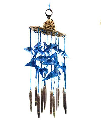 Ruth + Wilde Ocean Blue Shell Hat Wind Mobile Chime - 12 Inches