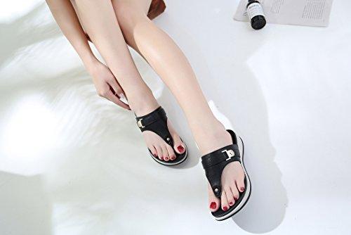 Ruiren Summer Femmes pour Sandals Chaussures Noir Dames Wedge Beach waAxtraq