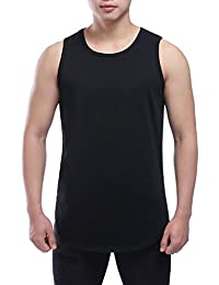 Men's Round Neck Side Slit Undershirts Tank Vest Black XXL