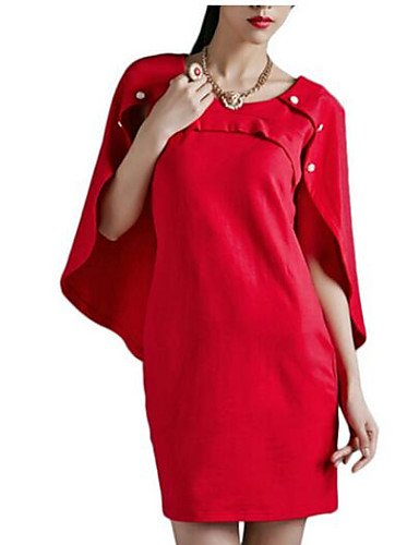 PU&PU Robe Aux femmes Ample Vintage,Couleur Pleine Col Arrondi Au dessus du genou Polyester , red-m , red-m