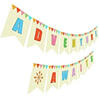 Adventure Awaits Banner, Retirement Baby Shower Wedding Moving Going Away Party Sign Decorations