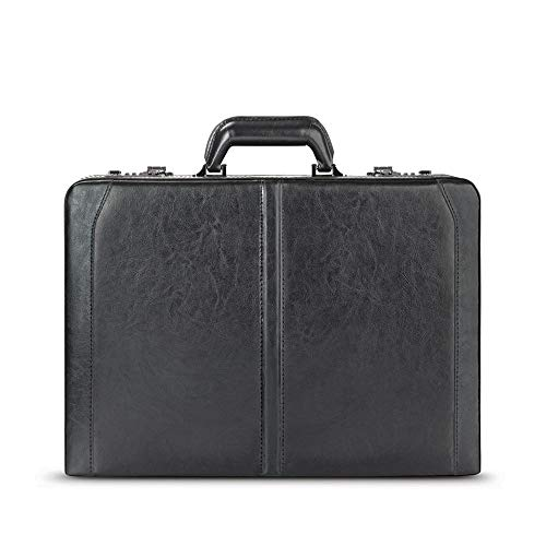 - Solo New York Broadway Premium Leather Attaché Case, Fits up to 16 Inch Laptop, Hard-sided with Combination Locks, Black