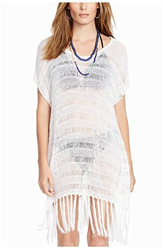 Wander Ago Beach See-through Cover Dresses Bikini Cover-ups Net Long Dress Tassels White