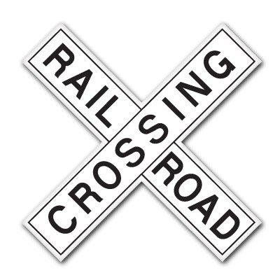 Railroad Crossing Vinyl Sticker - Car Phone Helmet - SELECT SIZE (Sign Warning Train Railroad Crossing)