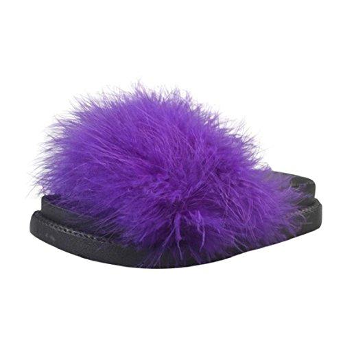 Transer Damen Flach Fluffy Faux Fur Putpr Peeptoe Hausschuhe