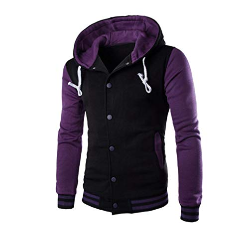 Men Coat Jacket Outwear Sweater, Stylish Color Contrast Long Sleeves Hoodie Varsity Jacket (Purple, XL) by HTHJSCO