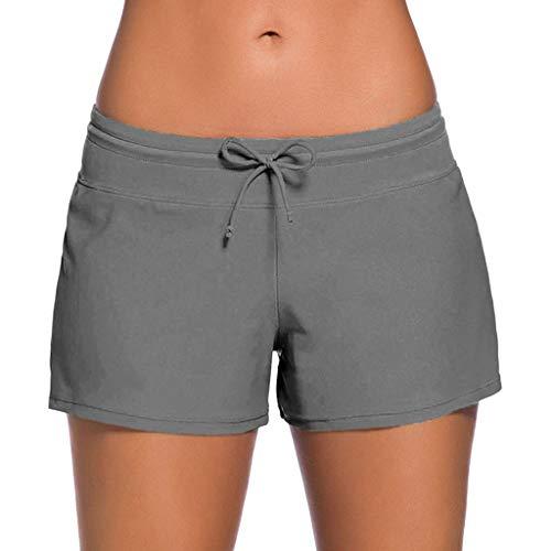 (Adeliber Women's Shorts Tankini Swimming Underwear Large Size Bottom Shorts Swimming Shorts Beach Shorts Gray)
