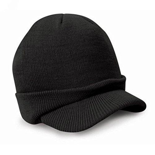 ZARU Esco Emporgeragte Armee Strickmütze Warme Wolle Winter Ski Cap (Schwarz)