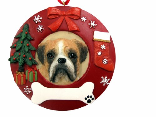 Boxer Dog Christmas Ornament - E&S Pets Boxer Uncropped Personalized Christmas Ornament