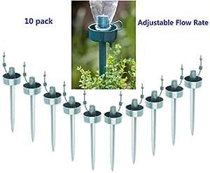 Picos de riego automático por goteo para el jardín (10 unidades, flujo ajustable, ideal cuando se va de vacaciones)