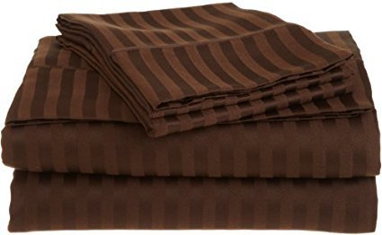 (Royal Tradition Damask Stripes Chocolate 600 Thread Count Split King Sheet Set 100% Cotton 5pc Bed Sheet set(Deep Pocket) 600 TC Dual King)