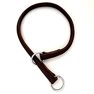 HAND-CRAFTED ROLLED LEATHER CHOKE CHAIN COLLAR DOG STRONG BIG DOG TOUGH RRP £29