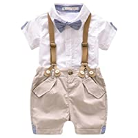 EGELEXY Toddler Baby Boys Gentleman Outfits Short Sleeve T-Shirt+Bib Pants+Bow Tie 3Pcs Size 3-4 Years(Tag 110) (White)