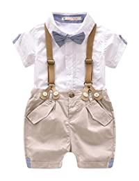 Toddler Baby Boys Gentleman Outfits Short Sleeve T-Shirt+Bib Pants+Bow Tie 3Pcs