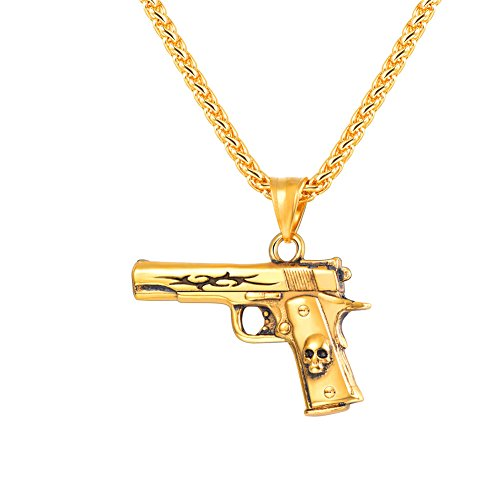 Men Cool Punk Skull M9 Rifle Shape Pendant & Chain 18K Gold Plated Stainless Steel Rock Army Style Personalized Necklace Jewelry,Chain 22