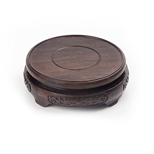 LuoLuo Oriental Furniture Chinese Rosewood Mahagony Ebony Wood Wooden Display Stand Pedestal Round Shape 10.5cm (Inner Diameter) 4cm Height L ()